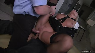 Milf gets double fucked by two masked men with huge dicks