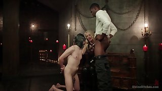 Bi-sexual advanced position slave endures black cock encircling slay rub elbows with throat