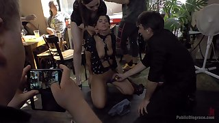 Tied up female slut Tina Kay loves to dread publicly humiliated
