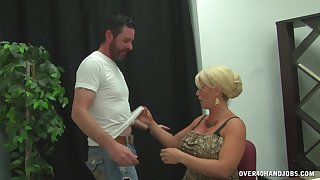 Blonde get hitched with big fake tits pleasures a guy with her hands