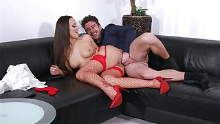 Deep pussy and anal with a MILF apropos sexy red stockings