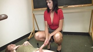 After the category brunette teacher loves to pleasure her bone-tired student
