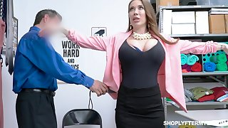 Popular breasted slutty MILF Bianca Burke is bent over and fucked doggy by cop