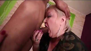 Cock-Hungry Grandma Gobbles Alongside Skinny Asian Boy