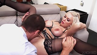 Dazzling blonde Kenzie Taylor gets her trimmed pussy done right