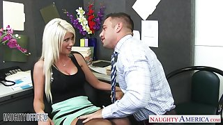 Shove around blonde upon black stockings rides incautious cock like a great pro