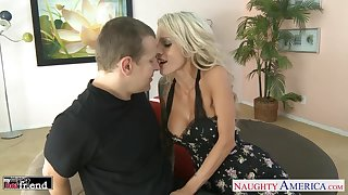 Flirty blonde Sarah Jessie is streetwalker wife who seduces neighbor to ride his cock