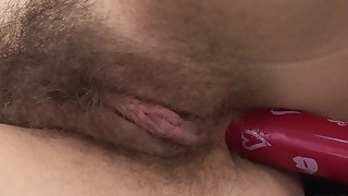 Solo wife treats her furry cunt with a lot of passion